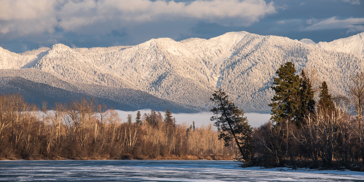 Flathead River and Swan Mountains in the winter